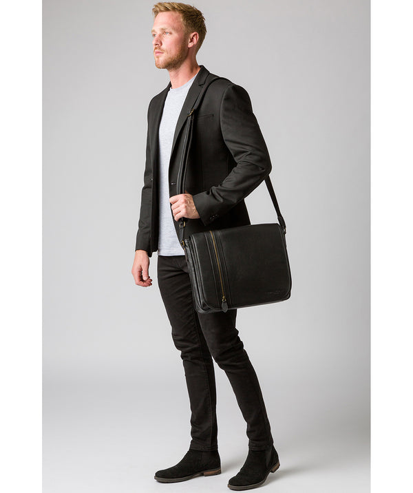 'Jefferson' Black Leather Messenger Bag image 2
