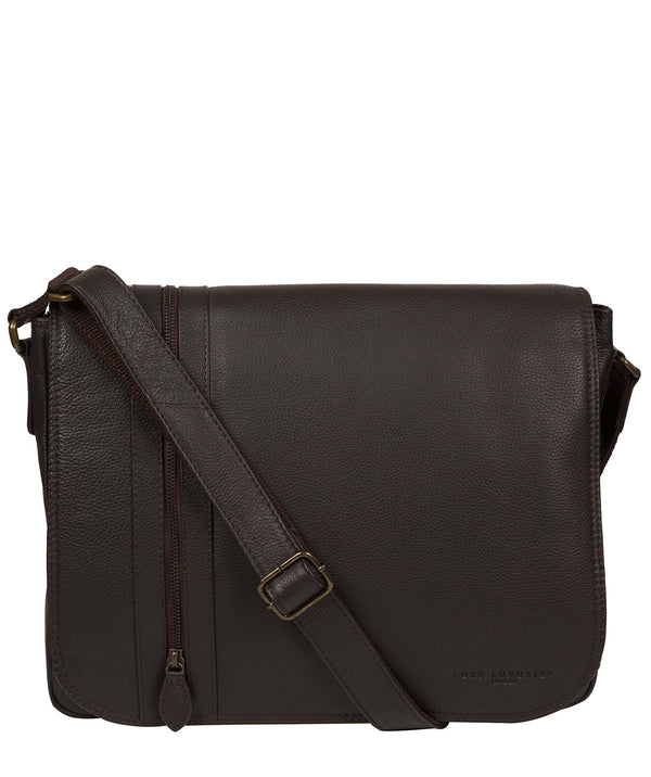 'Jefferson' Brown Leather Messenger Bag image 1
