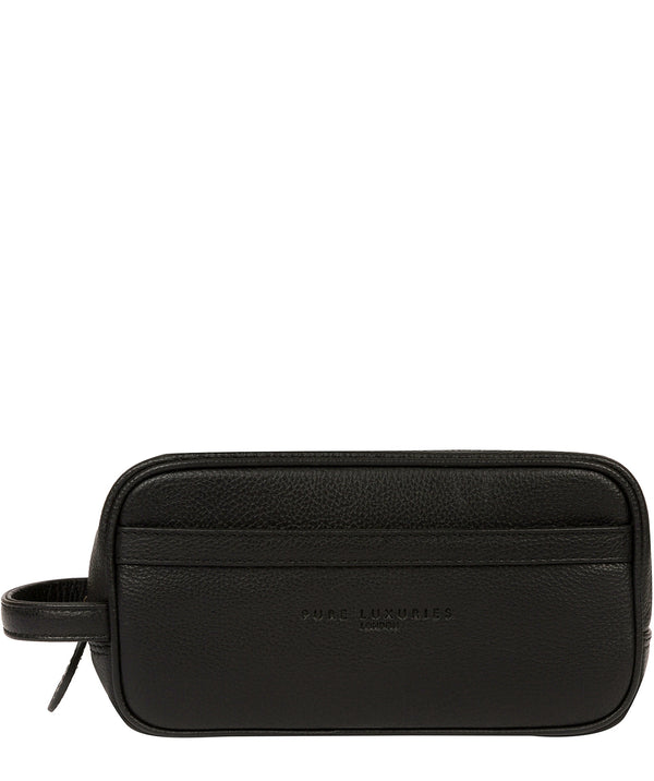 'Reef' Black Leather Washbag image 1