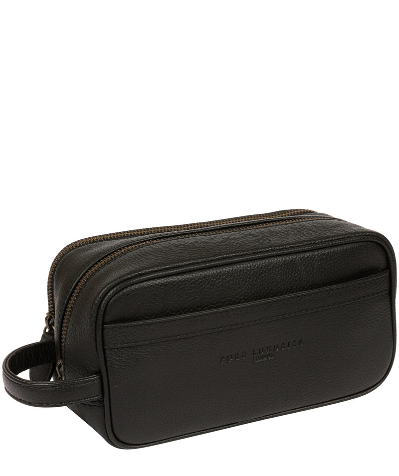 'Reef' Black Leather Washbag image 6