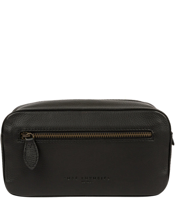 'Jetty' Black Leather Washbag image 1