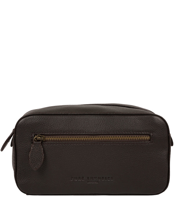 'Jetty' Brown Leather Washbag image 1