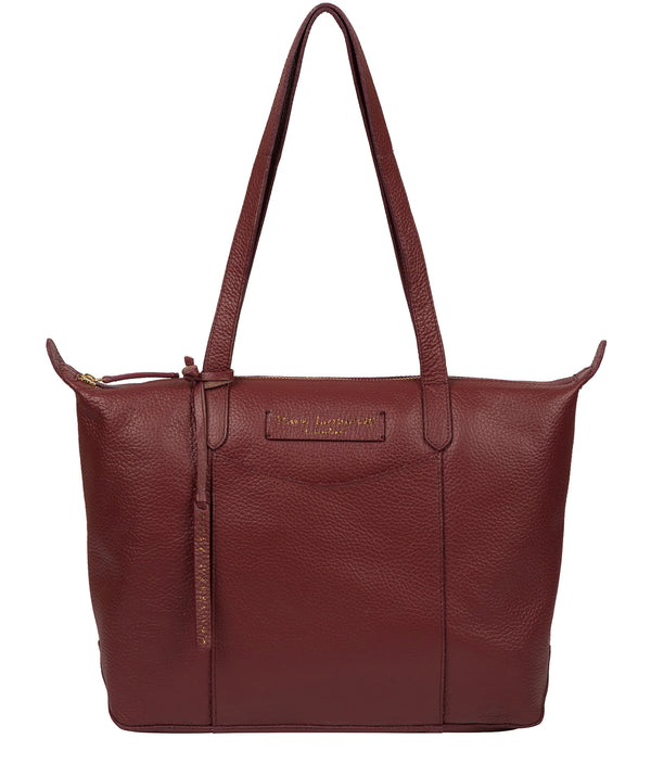 'Oval' Burgundy Leather Tote Bag image 1
