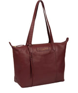 'Oval' Burgundy Leather Tote Bag image 5