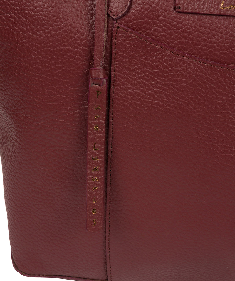 'Oval' Burgundy Leather Tote Bag image 6
