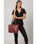 'Oval' Burgundy Leather Tote Bag image 2