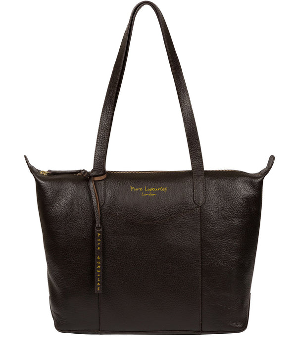 'Oval' Dark Brown Leather Tote Bag image 1