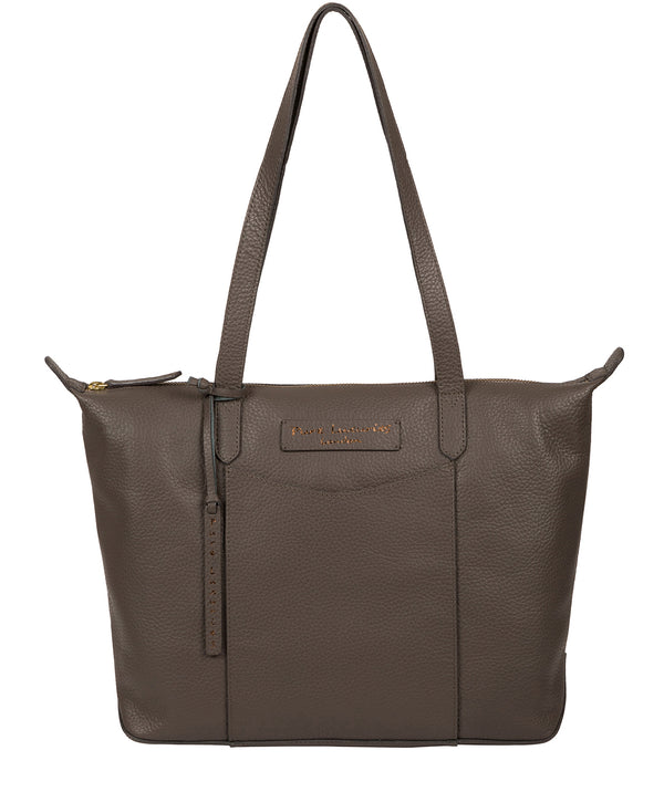 'Oval' Grey Leather Tote Bag image 1