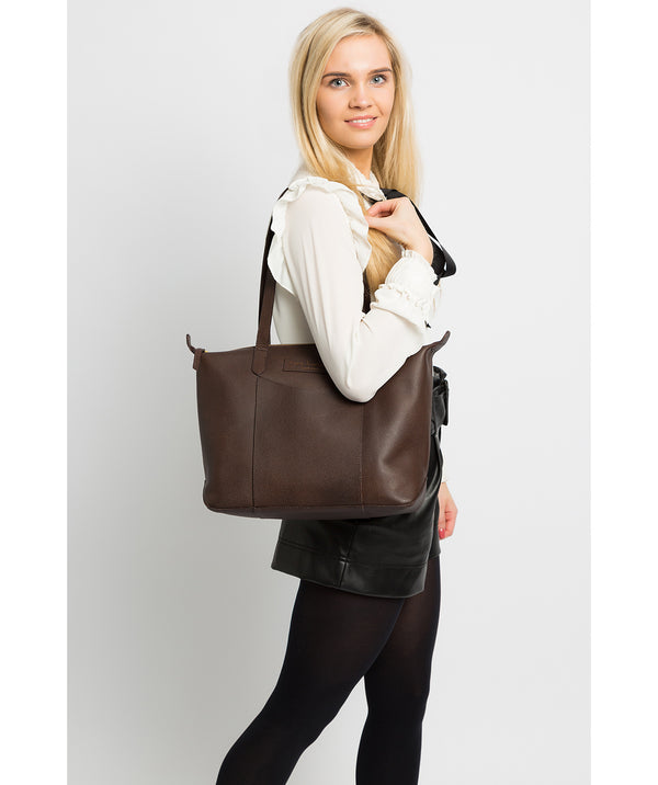 'Oval' Hickory Leather Tote Bag Pure Luxuries London