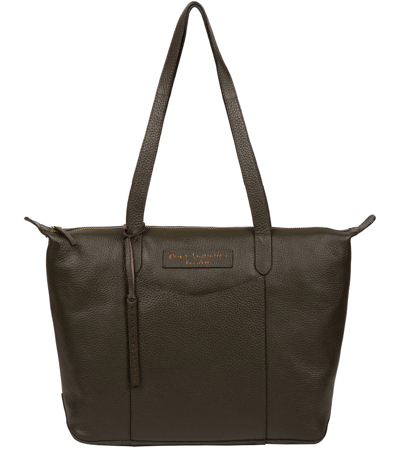 'Oval' Hunter Green Leather Tote Bag image 1