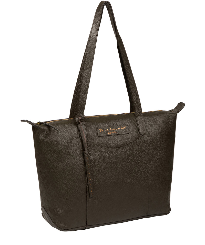 'Oval' Hunter Green Leather Tote Bag image 5