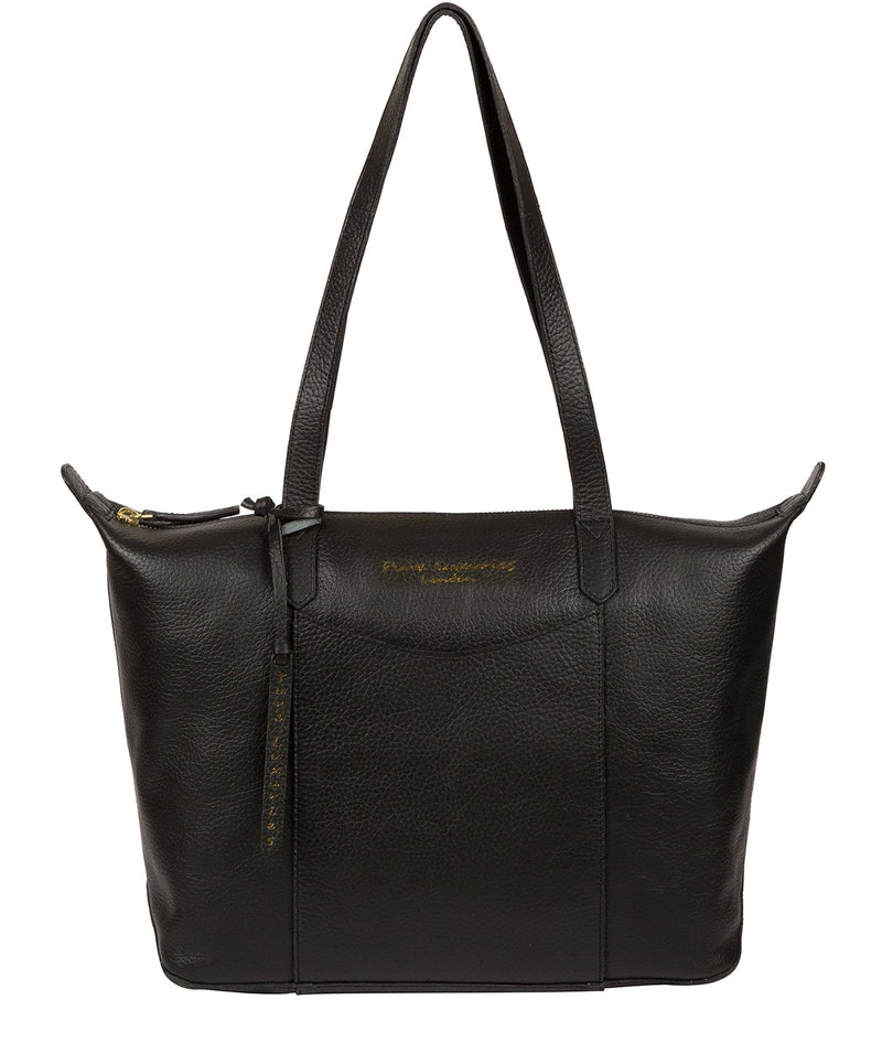 'Oval' Jet Black Leather Tote Bag image 1