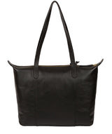 'Oval' Jet Black Leather Tote Bag image 3
