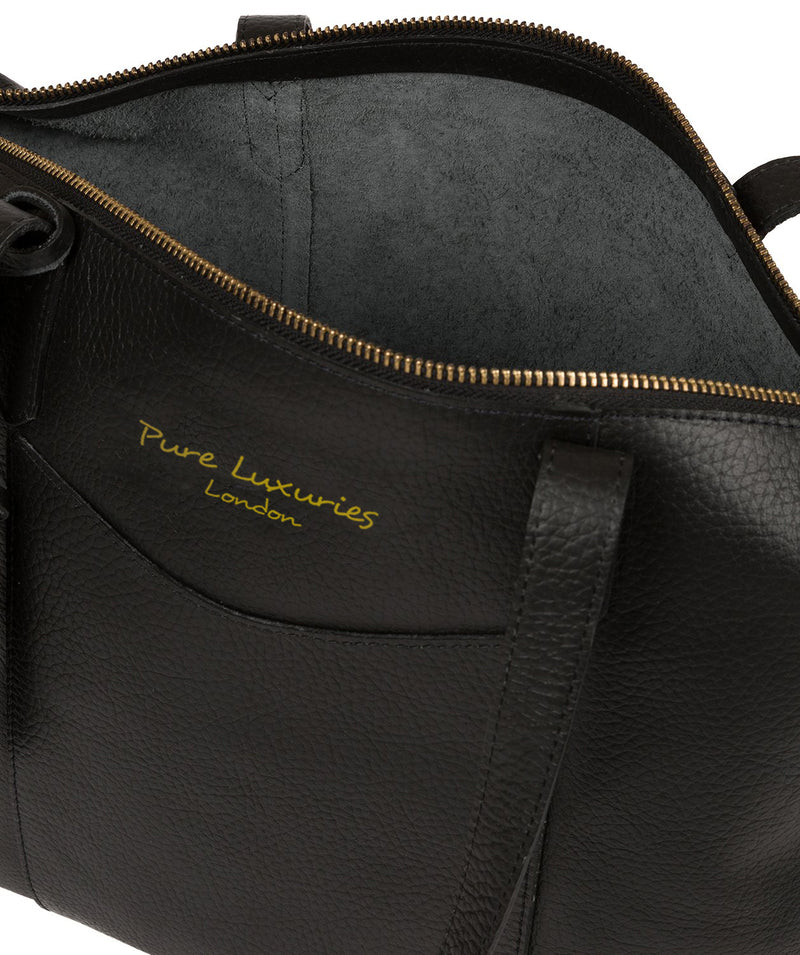 'Oval' Jet Black Leather Tote Bag image 4