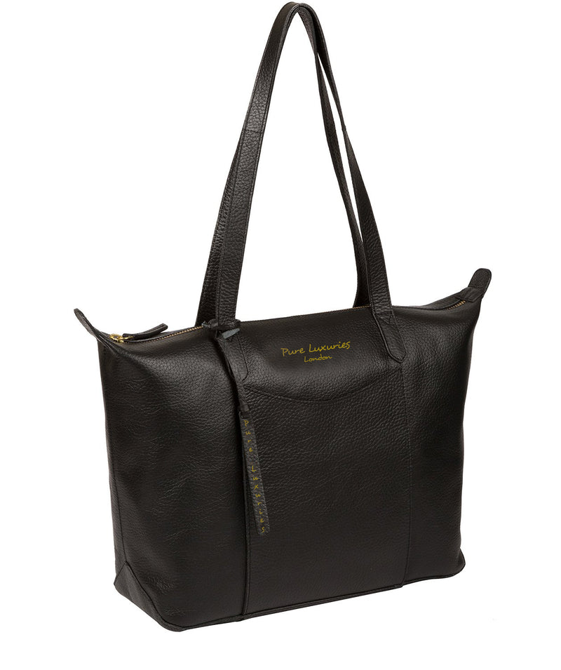 'Oval' Jet Black Leather Tote Bag image 5