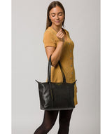 'Oval' Jet Black Leather Tote Bag image 2