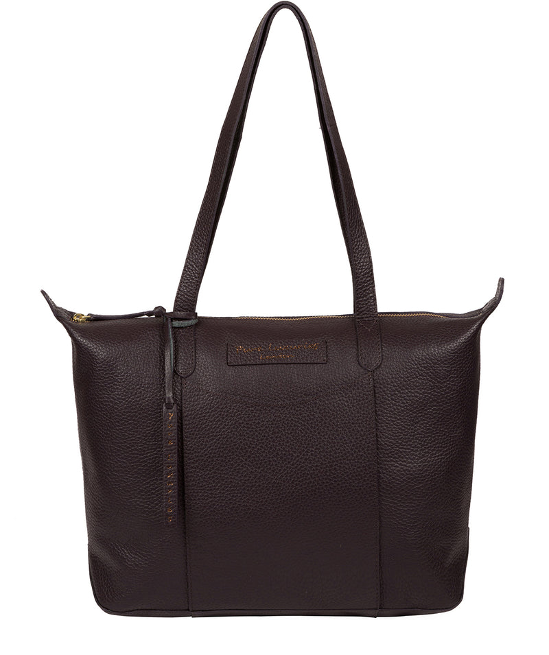 'Oval' Plum Leather Tote Bag image 1