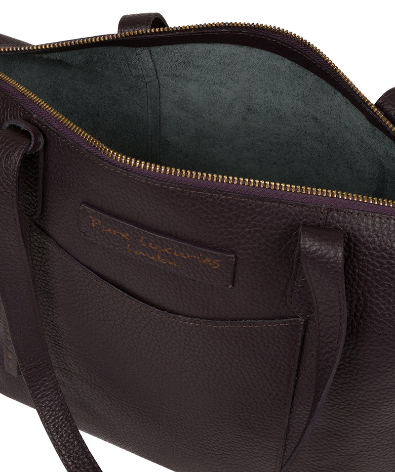 'Oval' Plum Leather Tote Bag image 4
