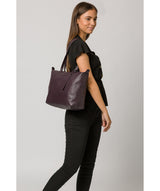 'Oval' Plum Leather Tote Bag image 2