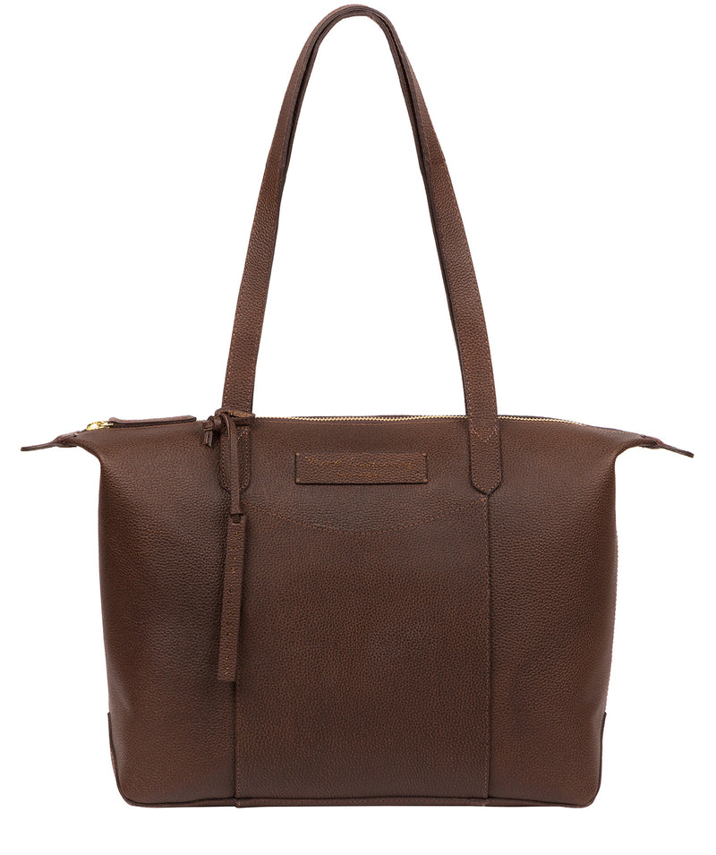 'Oval' Walnut Leather Tote Bag image 1