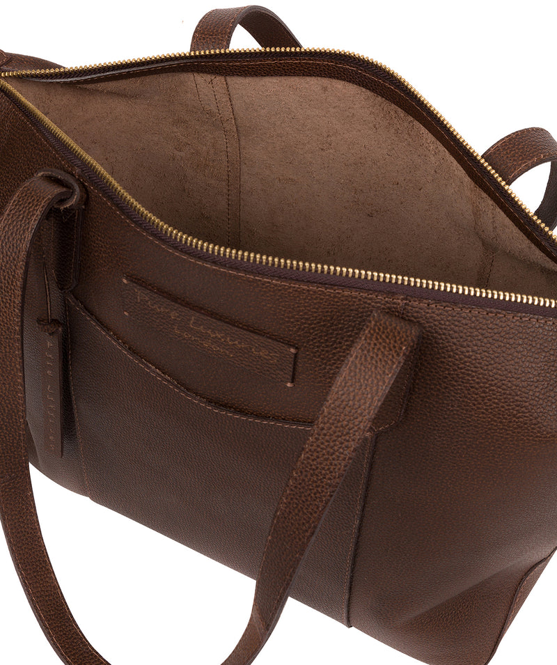 'Oval' Walnut Leather Tote Bag image 4