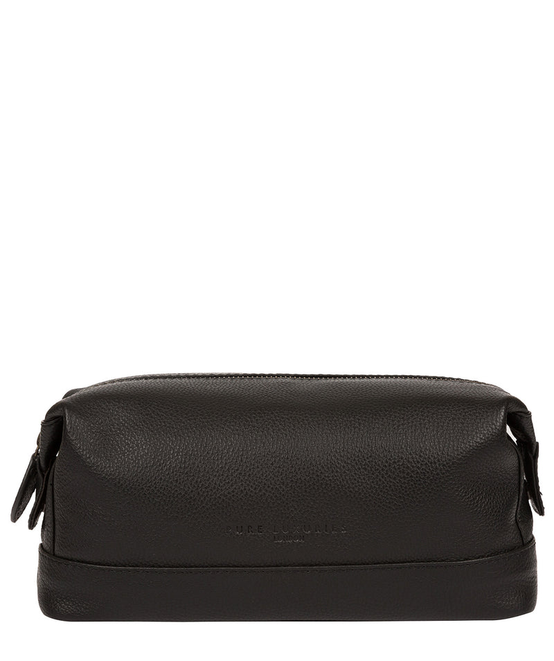 'Joggle' Black Leather Washbag image 1