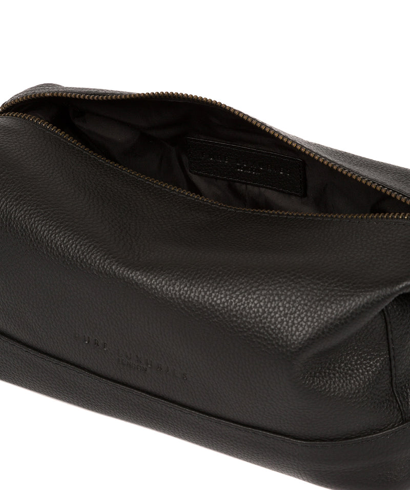 'Joggle' Black Leather Washbag image 4