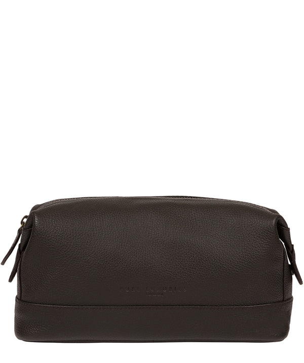 'Joggle' Brown Leather Washbag image 1