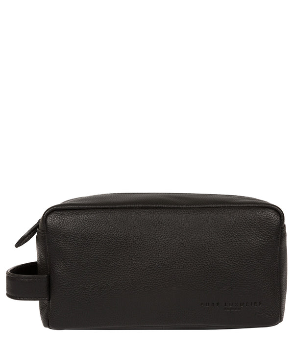 'Keel' Black Leather Washbag image 1