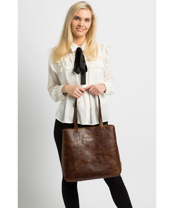 'Ruxley' Vintage Brown Leather Tote Bag Pure Luxuries London
