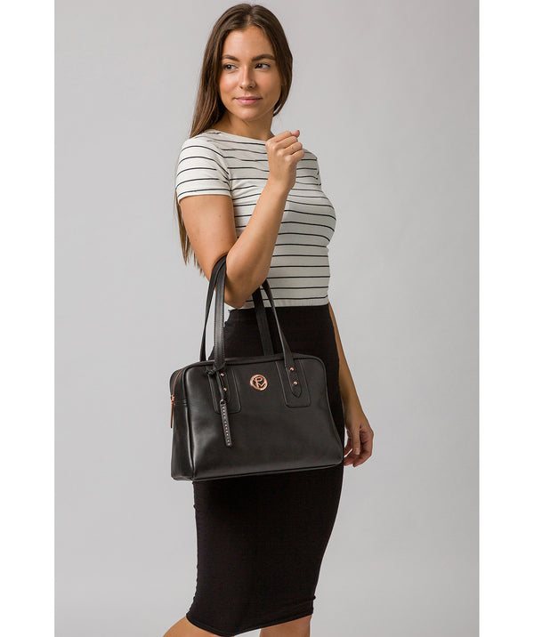 'Madox' Black Leather Handbag image 2