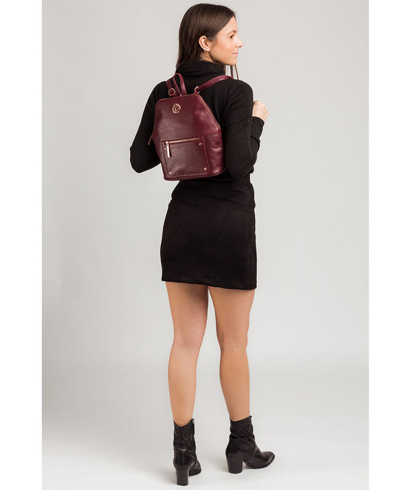 'Rubens' Burgundy Leather Backpack image 2