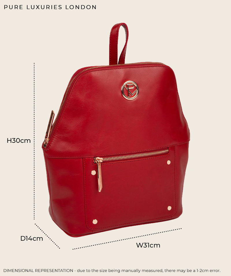 'Rubens' Burgundy Leather Backpack