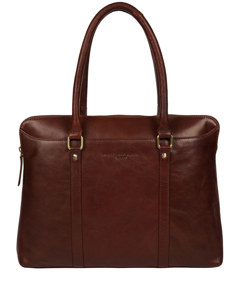 'Clio' Chestnut Leather Workbag  image 1