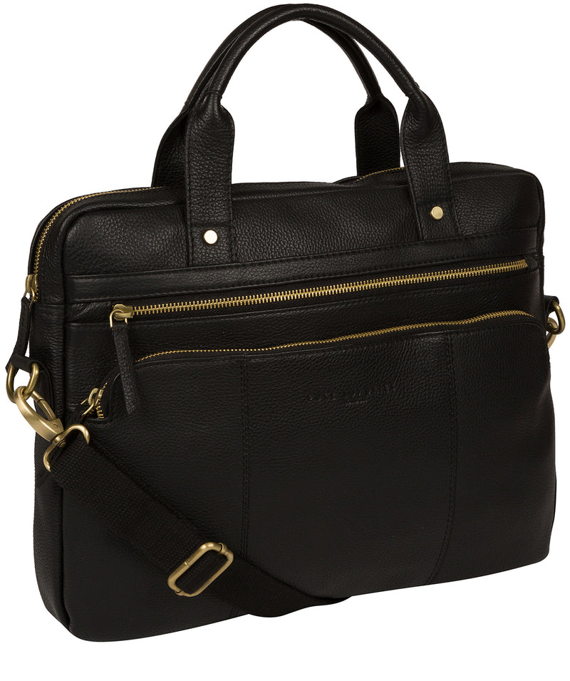 'Athenia' Black Leather Workbag  image 5