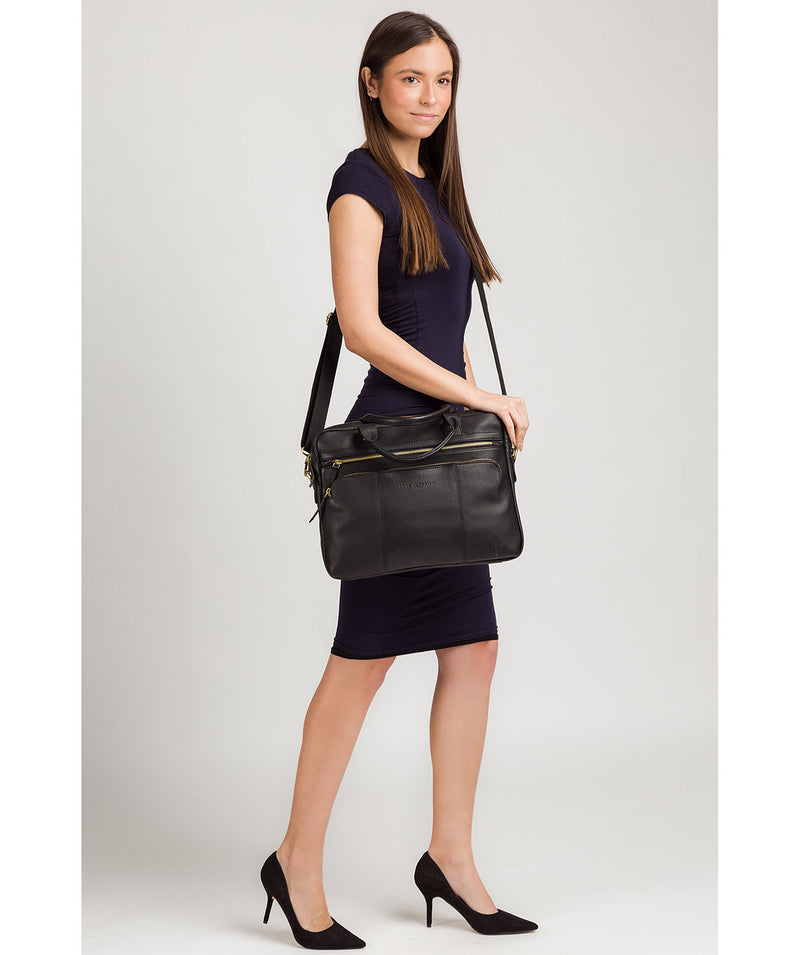 'Athenia' Black Leather Workbag  image 7