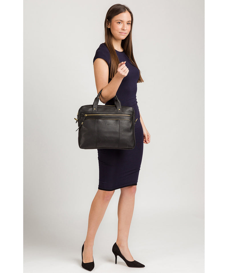 'Athenia' Black Leather Workbag  image 2