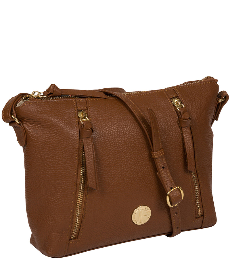 'Yoshi' Tan Leather Cross Body Bag image 5