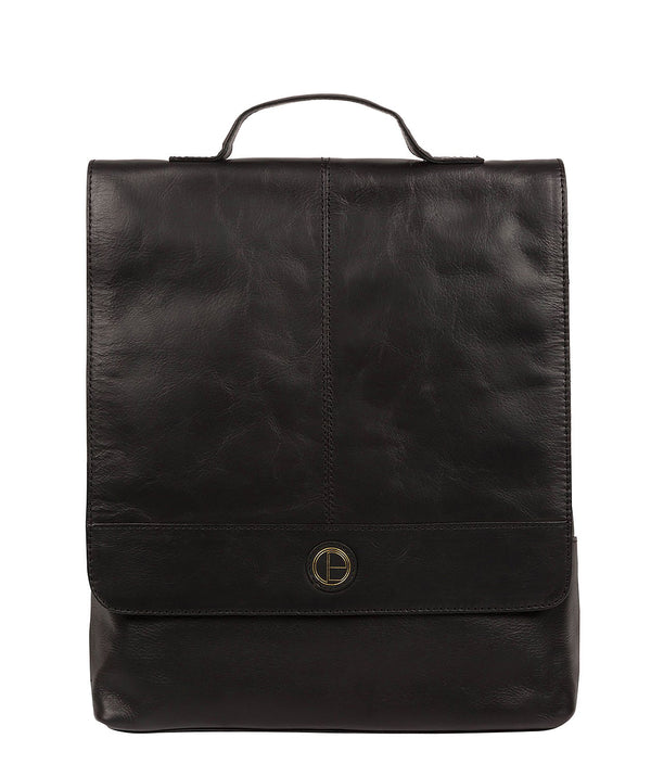 'Pembroke' Vintage Black Leather Backpack