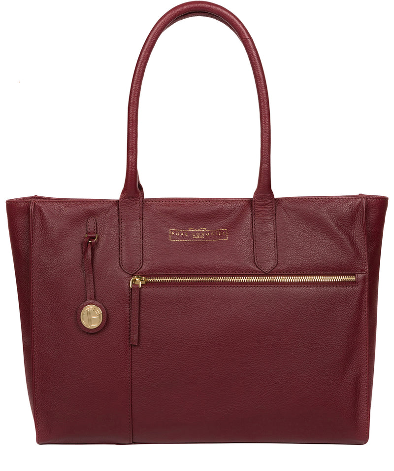 'Buckingham' Deep Red Leather Tote Bag image 1