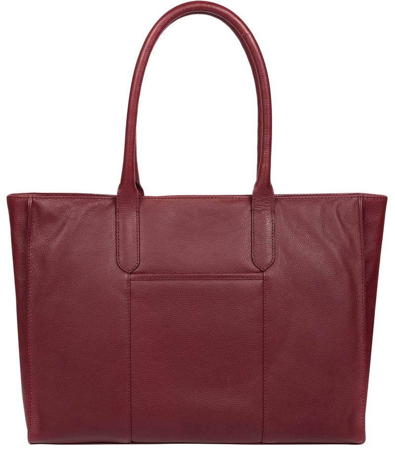 'Buckingham' Deep Red Leather Tote Bag image 3
