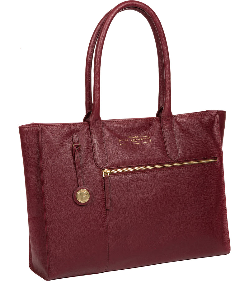'Buckingham' Deep Red Leather Tote Bag image 5