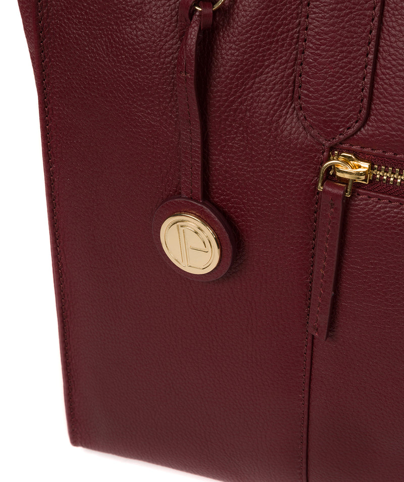 'Buckingham' Deep Red Leather Tote Bag image 6
