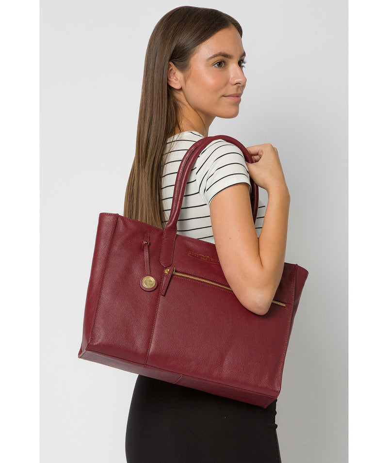 'Buckingham' Deep Red Leather Tote Bag image 2