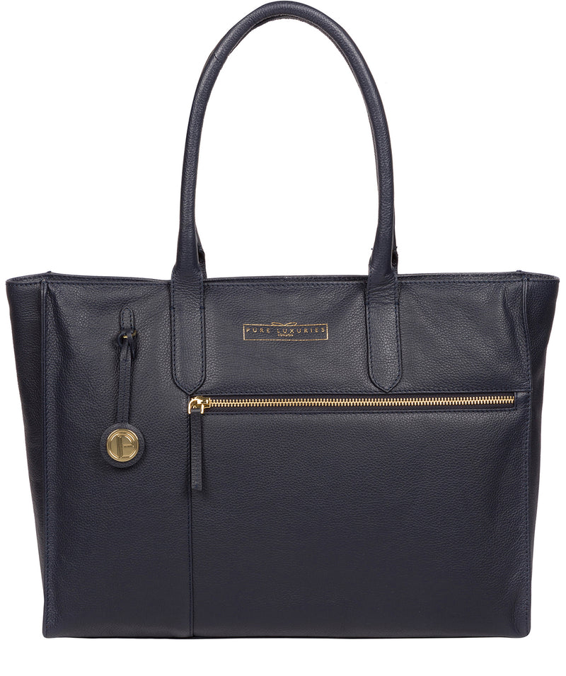'Buckingham' Navy Leather Tote Bag image 1