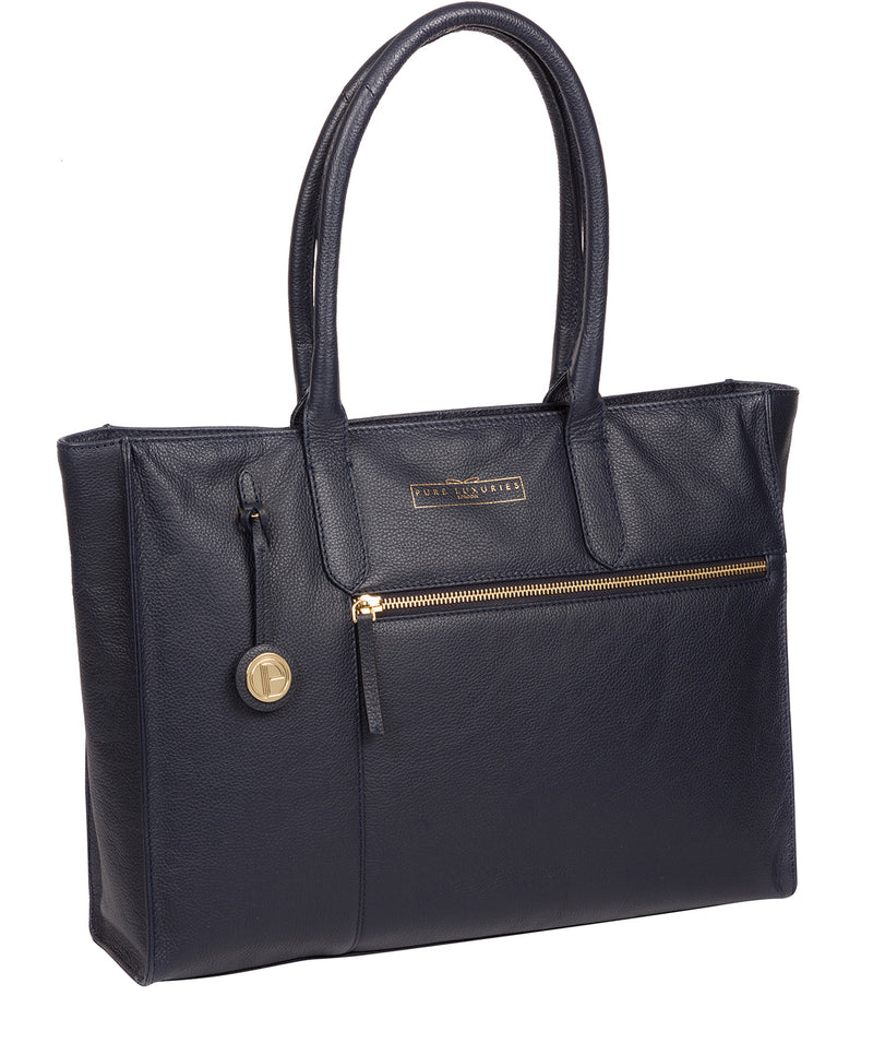 'Buckingham' Navy Leather Tote Bag image 5