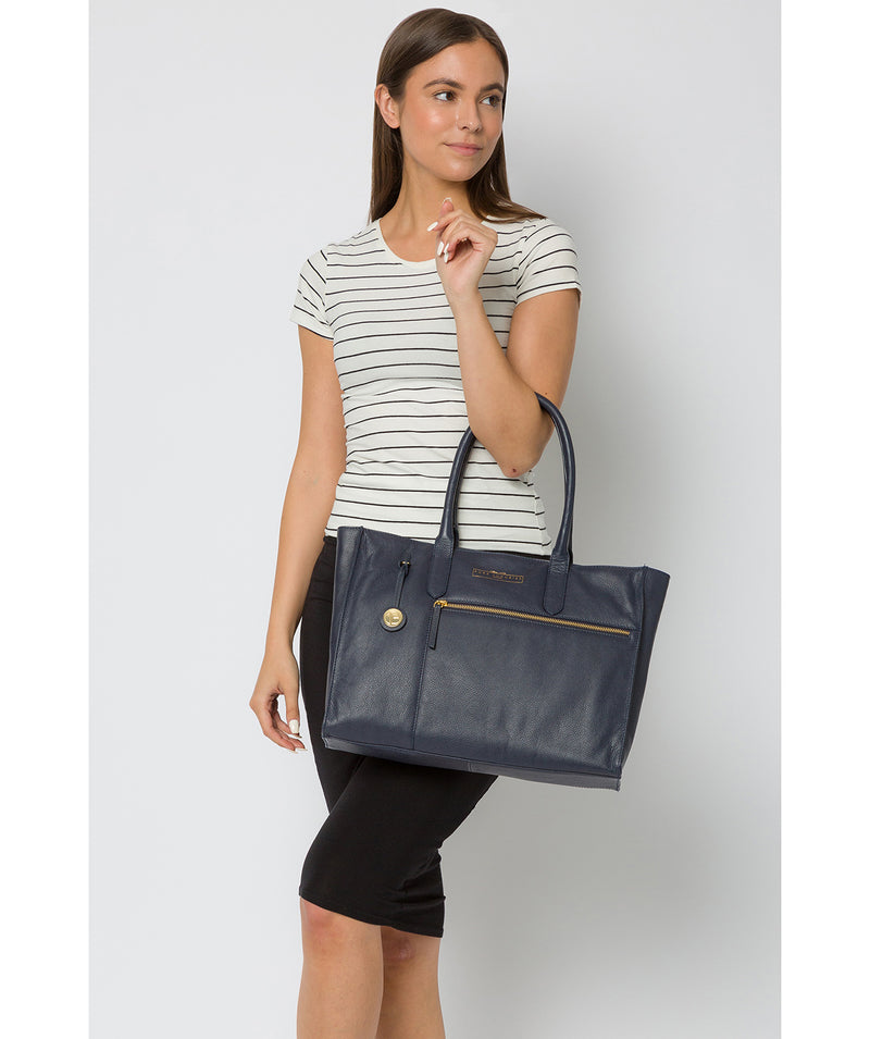 'Buckingham' Navy Leather Tote Bag image 2
