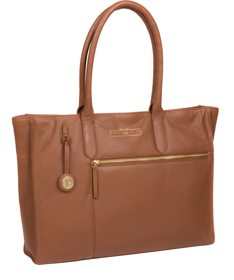 'Buckingham' Tan Leather Tote Bag image 5