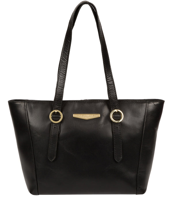 'Adelina' Black Leather Tote Bag image 1