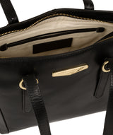 'Adelina' Black Leather Tote Bag